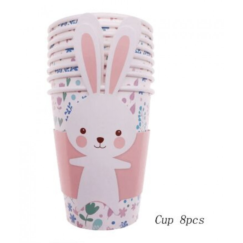 8pcs/one-time Easter bunny paper dessert paper cup rabbit party supplies cake tableware decoration children's birthday