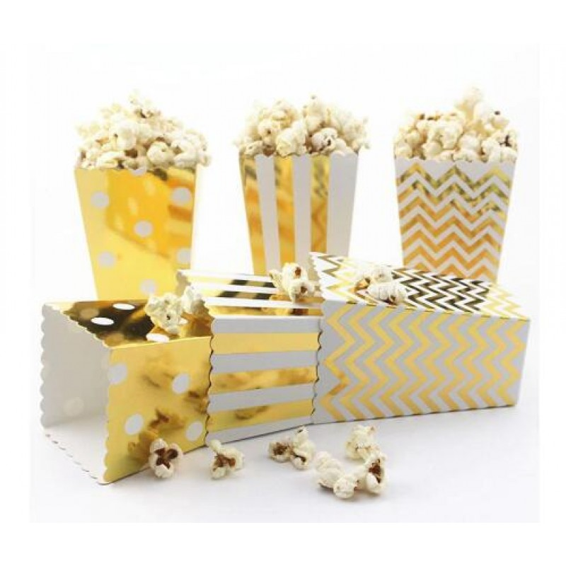 New 6 pcs Hot stamping Gold Silver Paper Stripe Wave Dot Popcorn Boxes Birthday Party decorations kids baby shower boy Girl