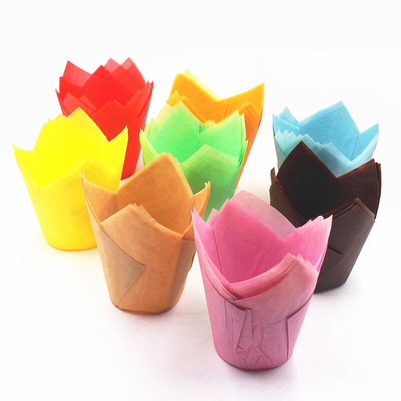 Paper Baking Cups Cupcake Wrapper for Muffin Cups Colorful Anti-Oil Flame Shape Baking Cupcake Paper Cake Cup
