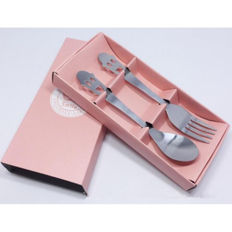 Colorful Box Packing Smiling Face Stainless Steel Spoon and Fork Set Silver Spoon Fork Set