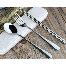 Wholesale Promotional Gift Flip Cover Open Stainless Steel Tableware Three-piece Set Durable Chopstick Spoon Fork Dinnerware Sets
