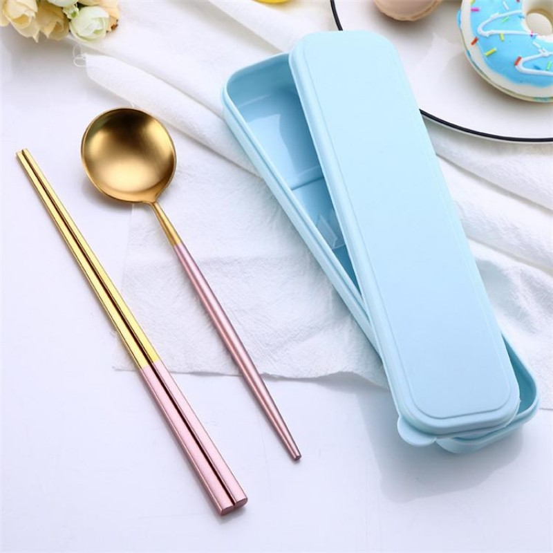 Promotional Stainless Steel Tableware Set Cutlery Set Flatware Set 2Pcs PVD Plated Spoon Chopsticks Gift Box