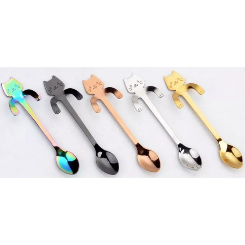creative stainless steel spoon cute cartoon cat spoon