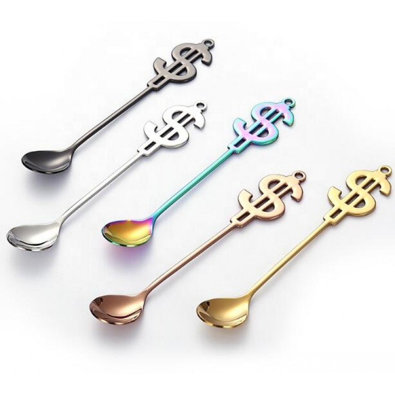 creative dollars spoon 304 SS dessert spoon and fork set 18/8 stainless steel tea spoon