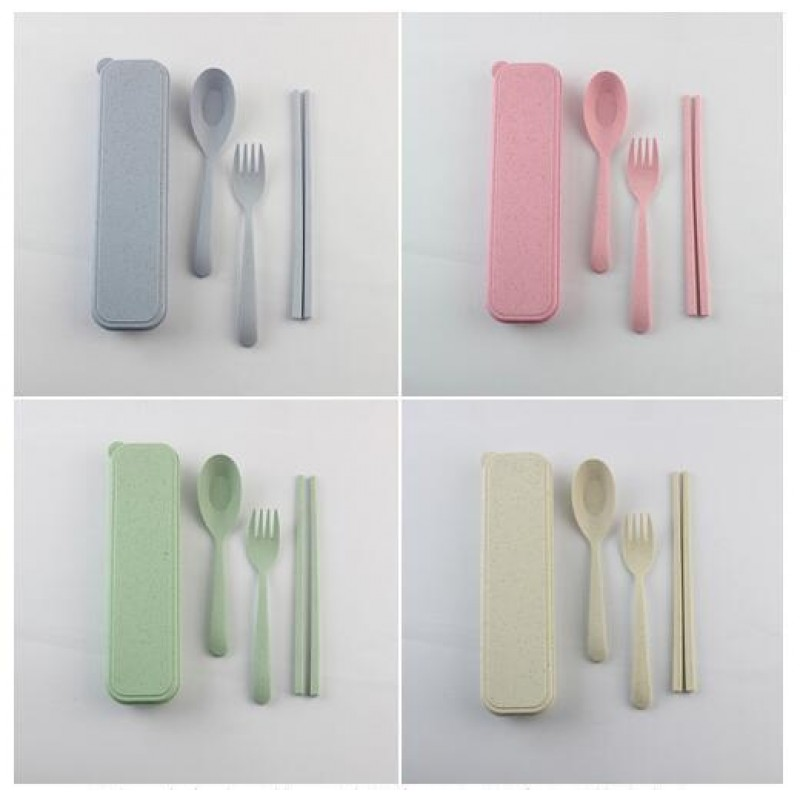Three sets of wheat straw tableware Portable Children's Tableware Set Spoon and fork chopsticks promotional gifts