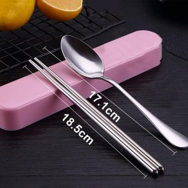 Wholesale Portable Stainless Steel Tableware Set Promotional Portable Two-piece Spoon Chopsticks Set With PP Box Spoon/Chopsticks Kit