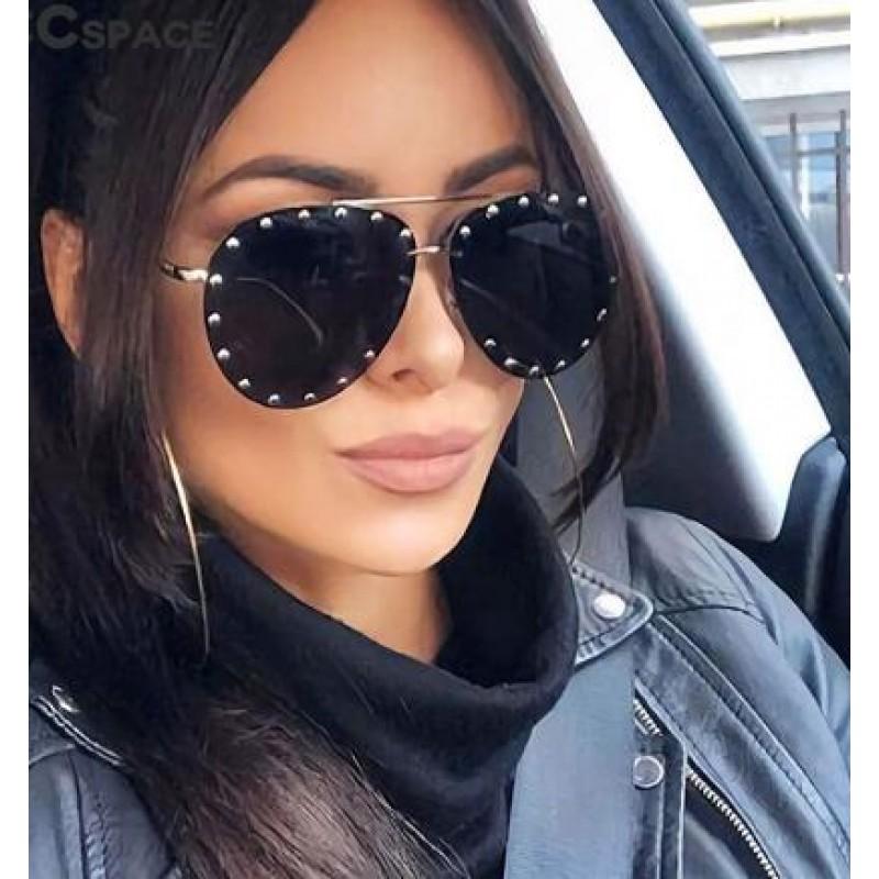 Ladies Metal Rivet Pilot Sunglasses Women Luxury Personality Rivet Glasses
