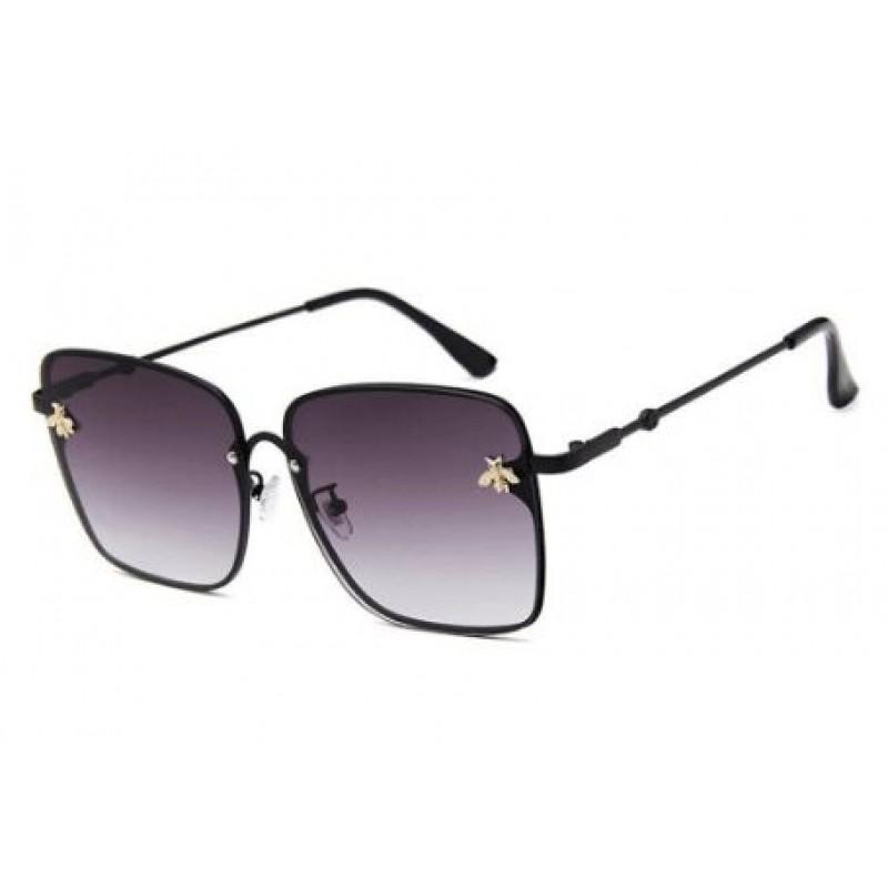 Retro Square Bee Sunglasses Women Brand Designer Metal Frame Oversized Sun Glasses