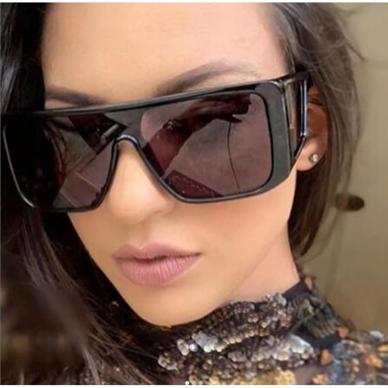 Windproof Sunglasses Women Men Reflective Oversized Mirror Retro Vintage Sun Glasses