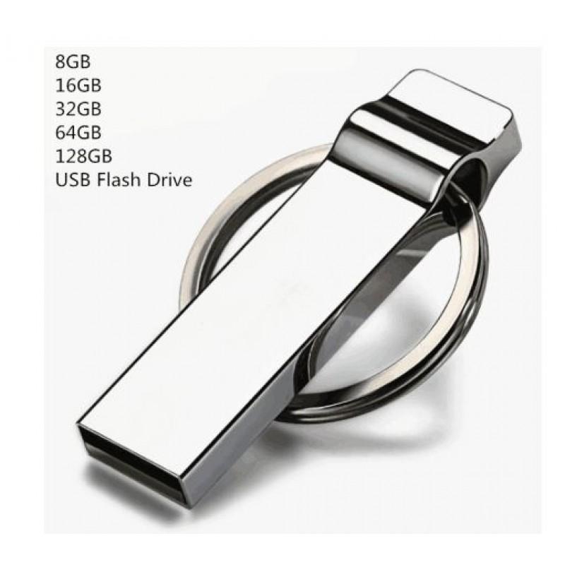 2.0 USB Flash Drive 32GB 64GB 128GB 8GB 16GB Waterproof Pendrive Memoria Metal Stick
