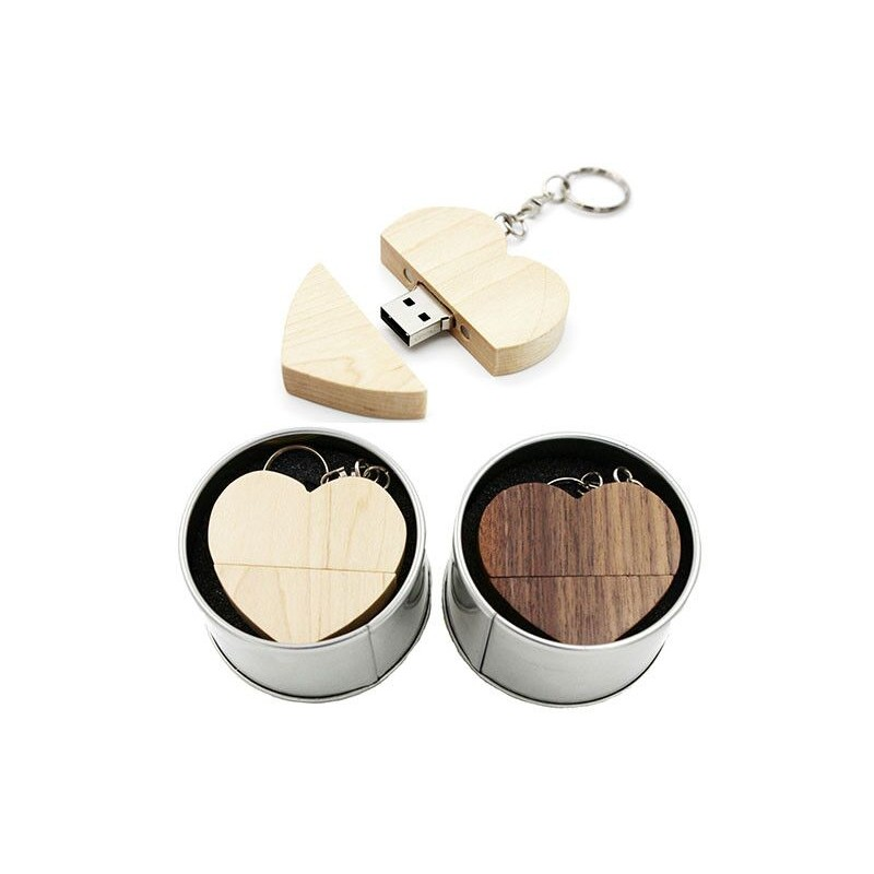 LOGO customized wooden Heart USB + BOX USB Flash Drive Pendrive 64GB 32GB 16GB 8GB U Disk photography wedding gifts