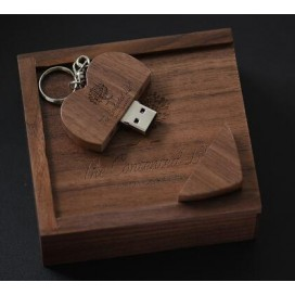 USB 2.0 wooden heart + box usb flash drive 4GB 8GB 16GB 32GB 64GB 128GB