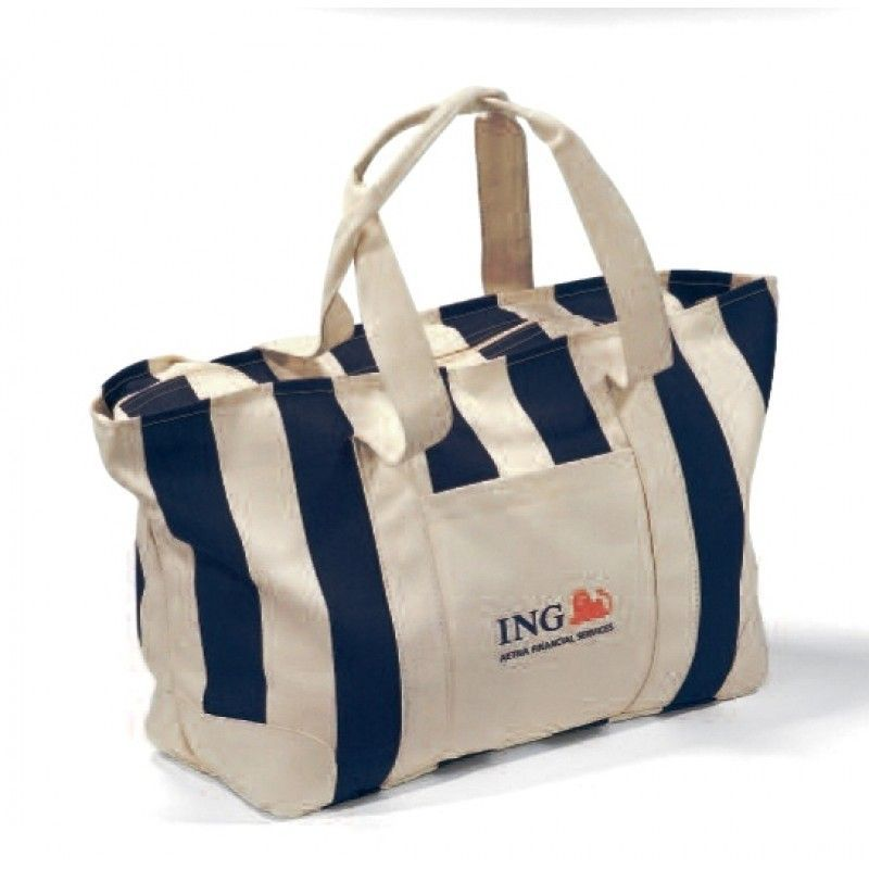 Cheap Large Striped Canvas Tote Bag