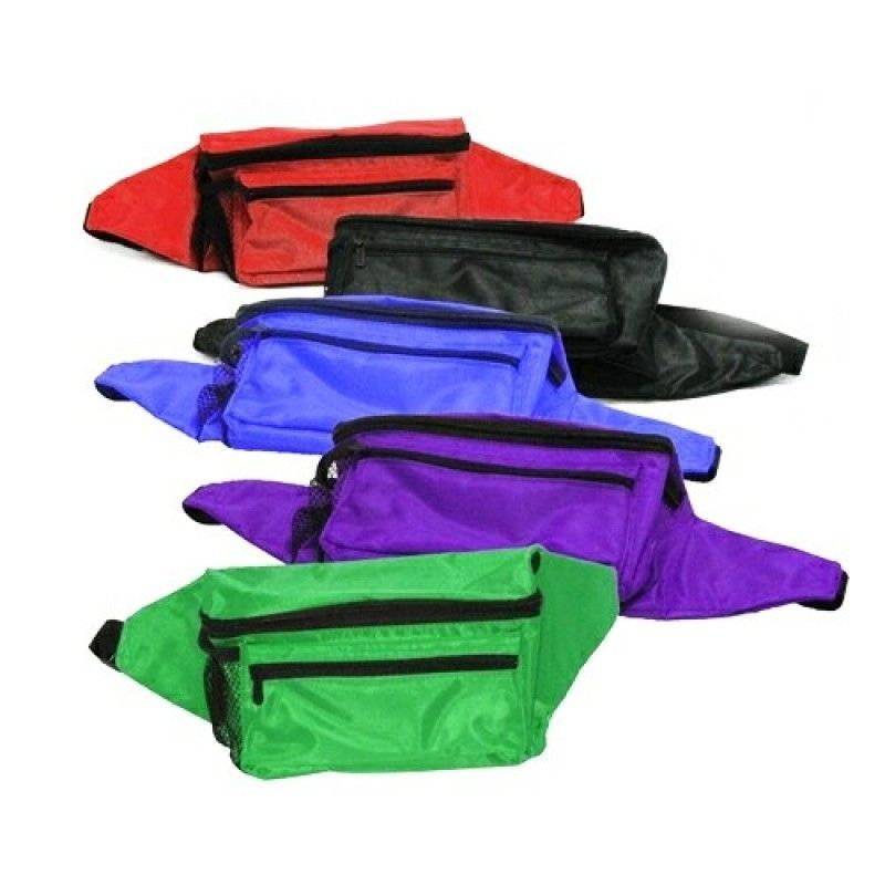 Cheap 420d Polyester Fanny Pack W/ Side Mesh Pocket & Zipper Closure