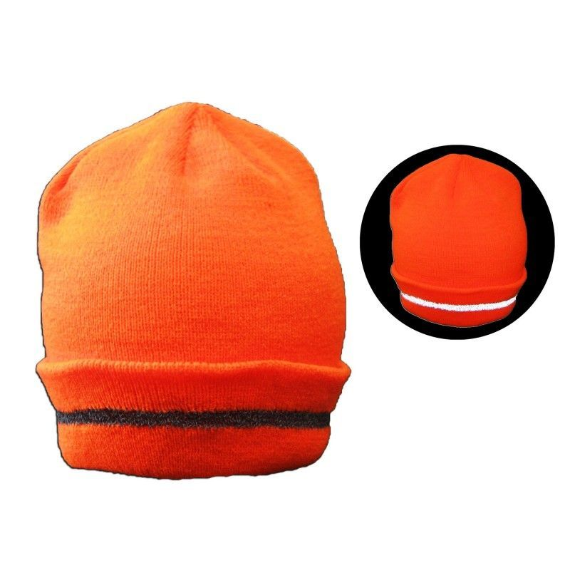 "Cheap 12"" Neon Orange Safety Reflective Beanie"