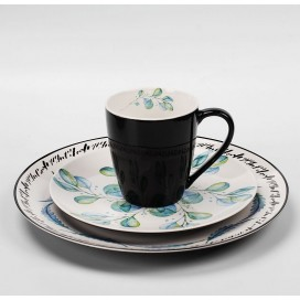 New bone china dinnerware set with coupe shape and solid color and customized pattern