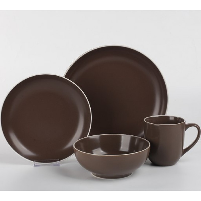 Brown matt glaze stoneware coupe plate western dinnerware sets
