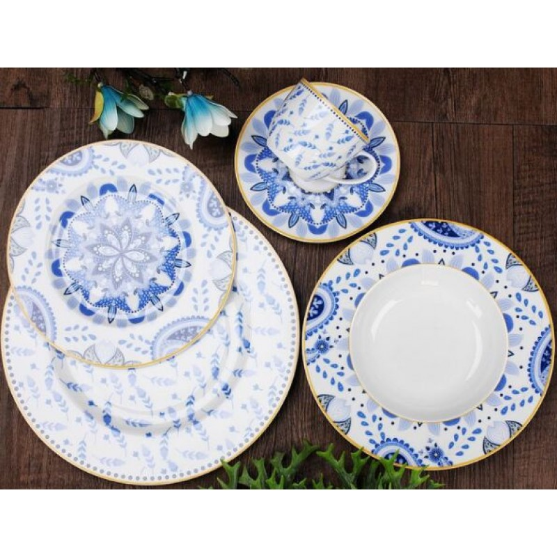 2019 new design with premium translucent porcelain dinnerware set for gift