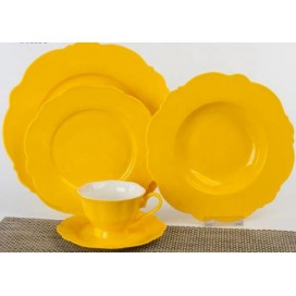 Western SGS FDA flower shape glazed dinner set 20 pieces/30 pieces
