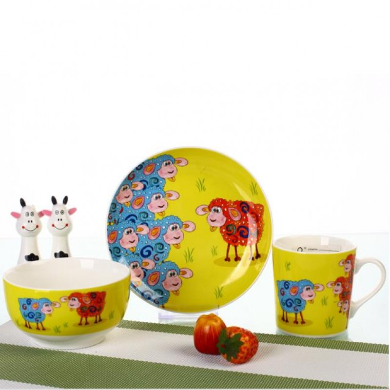 Ceramic fine porcelain cute kids dinnerware sets