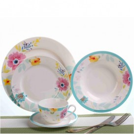 New Bone China Ceramic Dinner Sets With In-Glaze Floral Motifs