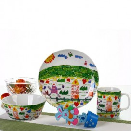 New product porcelain 3pcs kids dinnerware set with on-glazed decal