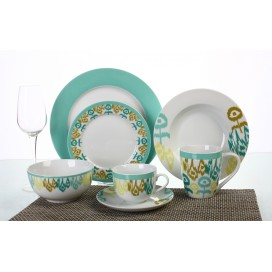Nice dinner table set for home with on-glaze decal