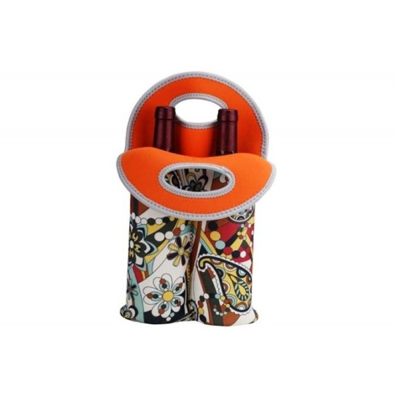 Cheap sublimation neoprene 2-bottle wine tote