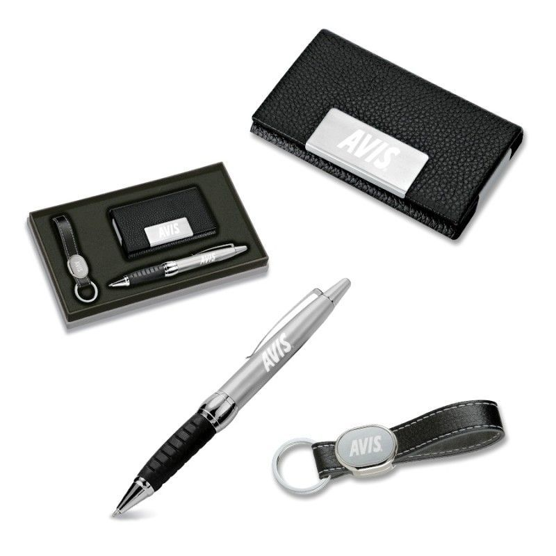 Cheap 3 Piece Gift Set - Leather Like Card Case/ Ballpoint Pen/ Key Ring