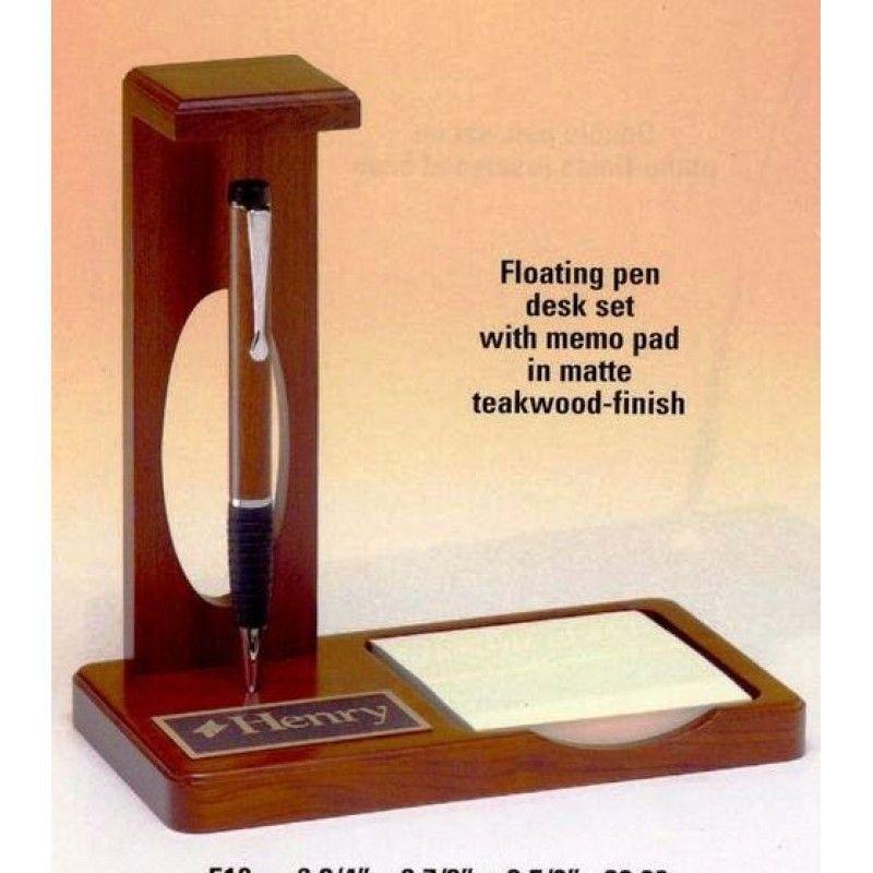 Teakwood Finish Floating Pen Desk Set W/Memo Pad