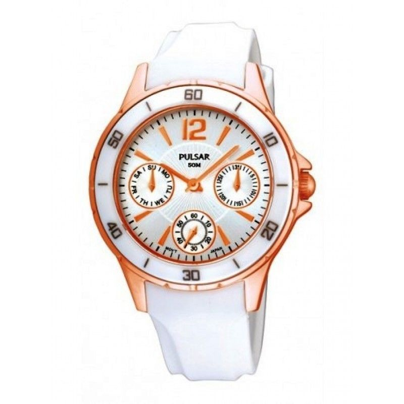 Cheap Pulsar Women's Dress Sport Rose Gold Stainless White Rubber Strap Watch