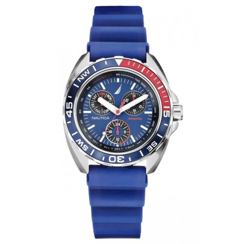 Nautica Men's Sport Ring Multifunction Blue & Red Watch