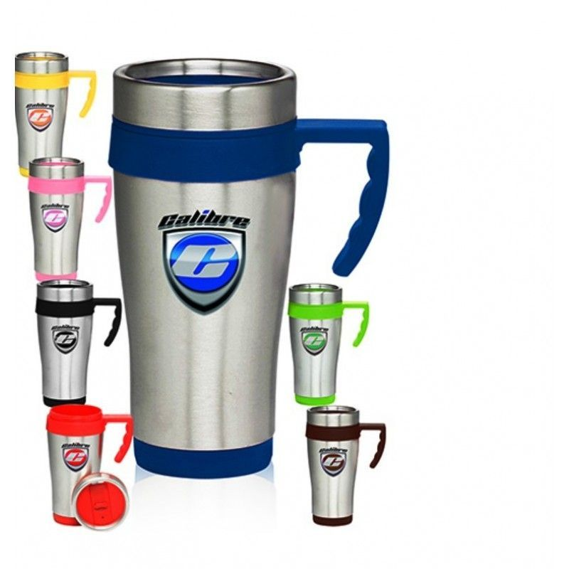 Cheap 16 Oz. Color Accent Stainless Steel Printed Travel Mugs With Handles