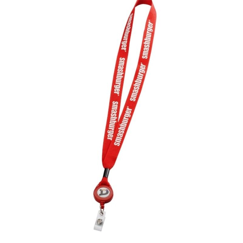"Promotional 3/4"" Polyester Lanyard With Retractable Badge Reel"