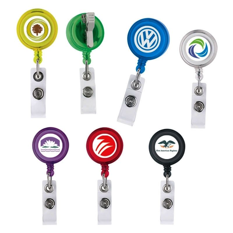 "Promotional 30"" Retractable Badge Reel W/ Metal Slip Clip Backing (Multicolor Label)"