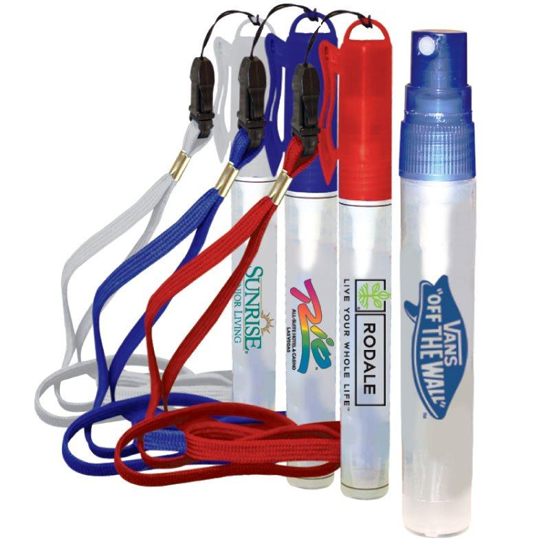 Promotional 10 Ml. Hand Sanitizer Spray On Detachable Lanyard