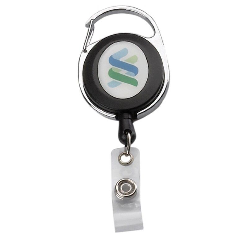 "Promotional 30"" Cord Square Retractable Badge Reel With Metal Clip (Multicolor)"