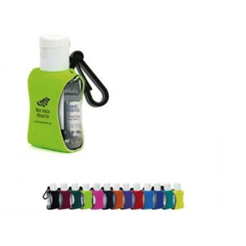 Promotional Clear Sanitizer w/ Neoprene Sleeve, .5oz.