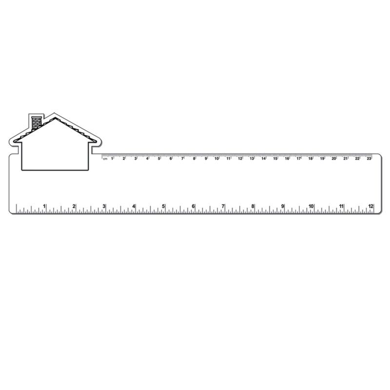 "Promotional 12"" Plastic Rectangle Ruler W/ Corner House"