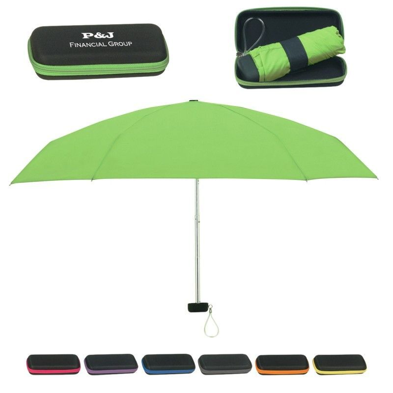 "Promotional 37"" Arc Telescopic Folding Travel Umbrella W/ Eva Case"