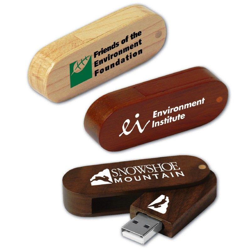Promotional Eco Swing Wood Oblong Flash Drive 8GB